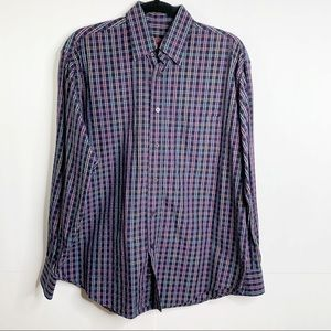 Bugatchi Uomo Navy Blue Plaid Button Shirt Sz S